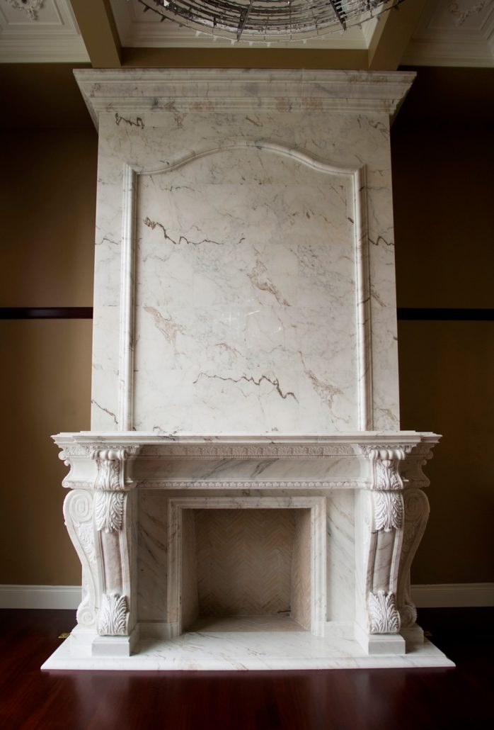 Custom French Provincial Stone Fireplace Mantels  BT Architectural