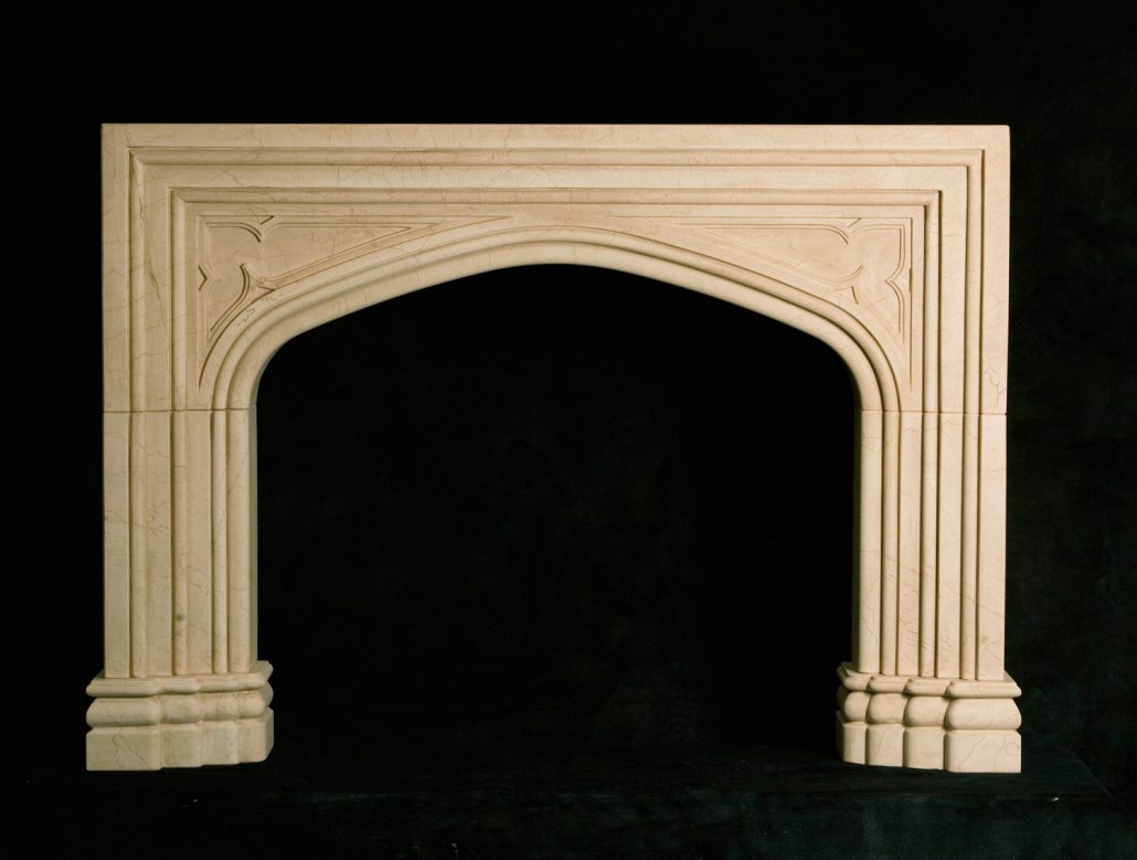 Custom English  Gothic Stone Fireplace Mantels  BT Architectural Stone