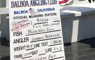 Balboa Angling Club's scoreboard for Mason Stoller's potential WR Pacific Bluefin Tuna (BFT)