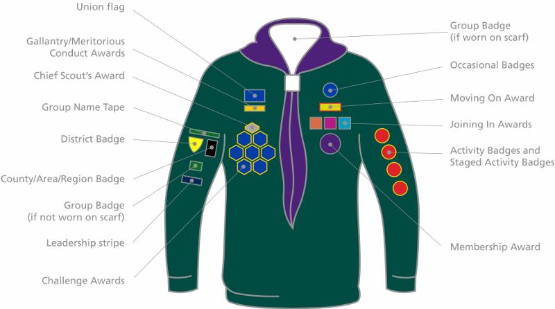14th Aldershot Scout Group Cub Badge Placement