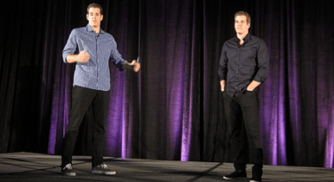 The Winklevoss brothers were the keynote at the San Jose Bitcoin 2013 confernce in May. Source: CNN Money