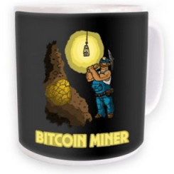 This cheeky bitcoin mining mug is one of the site's unique items. Source: Somethinggeeky
