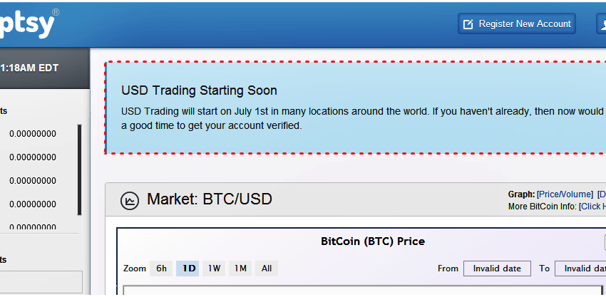 USD Trading Begins Tomorrow at Cryptsy.com
