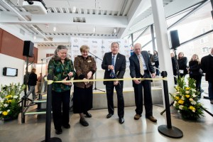 Dr. Holly Winchman, Vice President Janet Nelson, President Chuck Staben and retired Vice President Jack McIver cut the ribbon for the IRIC at its opening in January. Photo credit to University of Idaho Photo Services.