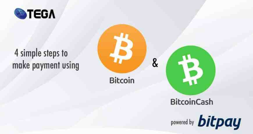online shopping singapore : four steps on how you can make payment using Bitcoin and Bitcoin cash in Btega