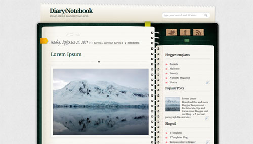 Diary/Notebook Blogger template - BTemplates