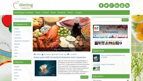 Food and Drink Blogger templates 2017