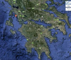 Locatie van het eilandje Oxeia op Google Maps