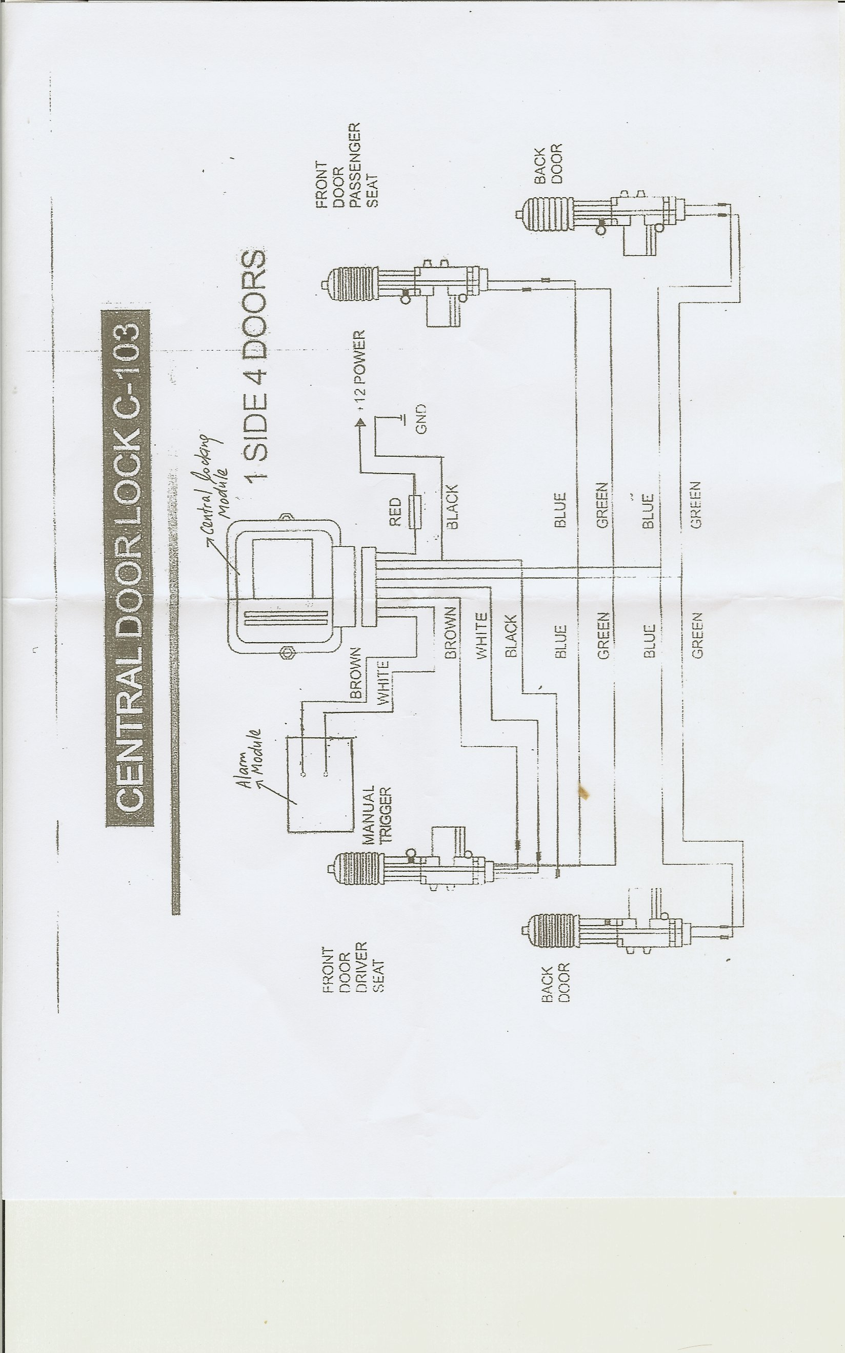 universal remote central locking wiring diagram