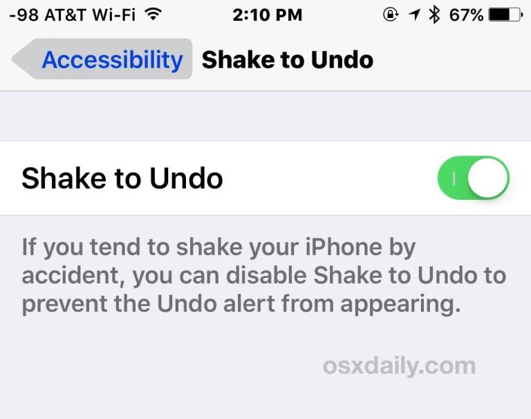 Как отключить встряхивание для отмены на iPhone, iPad и iPod Touch
