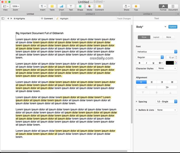 Как выделить в Pages для Mac