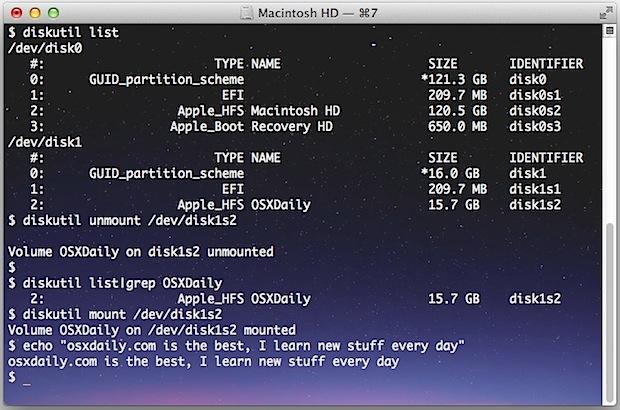 Монтирование и отключение дисков из командной строки в Mac OS X