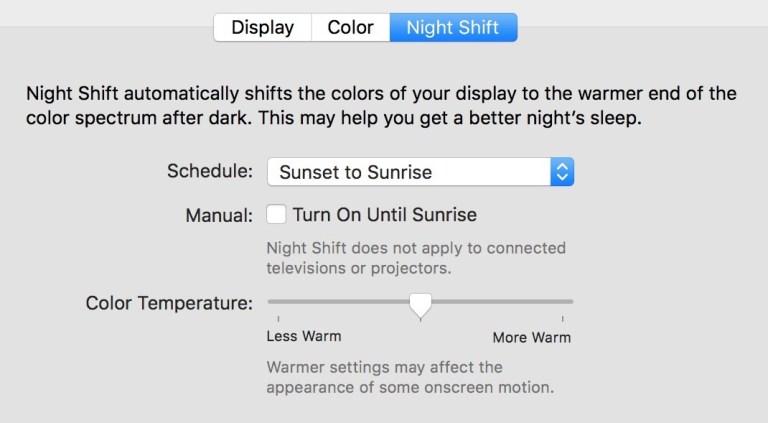 Как использовать Night Shift в Mac OS