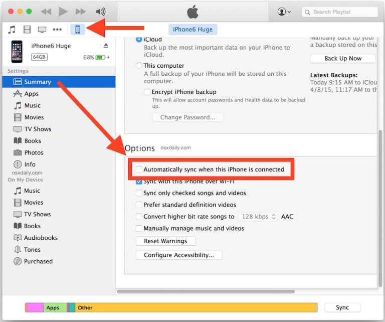 Отключить автоматическую синхронизацию в iTunes при подключении iPhone, iPad или iPod