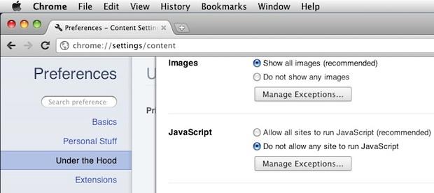 Как включить или отключить Javascript в веб-браузерах на Mac