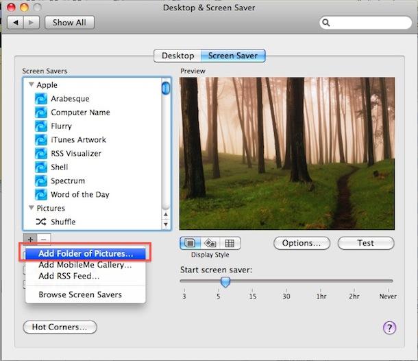 Сделайте заставку из ваших собственных изображений в Mac OS X