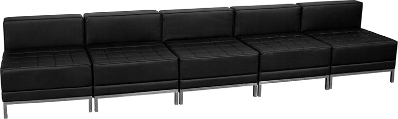 Leather Reception Sofa Fusion Black Leather Reception Sofa