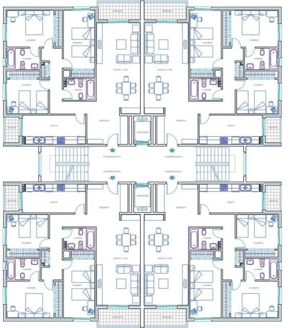 Plan, Architecture,Tour, résidentielle,avec, ascenseur