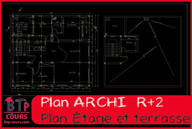 plan architecture et béton armé R+2