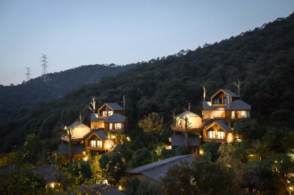 Des architectes conçoivent un centre de villégiature fantaisiste dans les arbres à Hangzhou, en Chine.