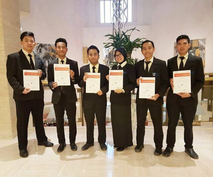 Congratulations for our Culinary Management students Ria, Wendy, Vicky dan Room Division Management students Rafky, Dio and Noverianto for completion of their internship at Intercontinental Doha today.. welcome back to our campus guys !