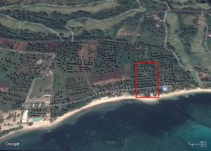 Outline of 1.4 hectare Balcksand Beachfront, Lombok, Indonesia