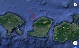 Location of 3.2 ht black sand beachfront property, Lombok, Indonesia
