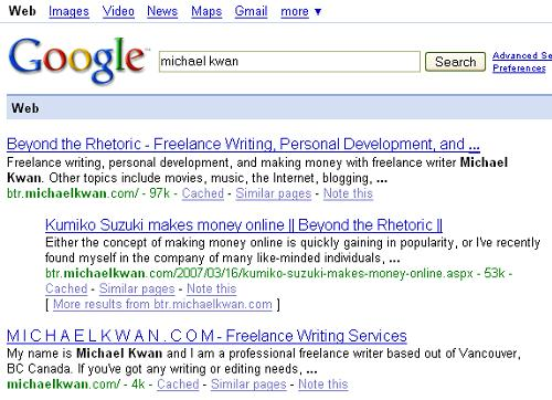 Despite a Google PageRank Smackdown, I'm Still Number One (and Two)