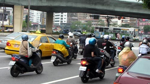 Taipei Taiwan Scooters in Traffic