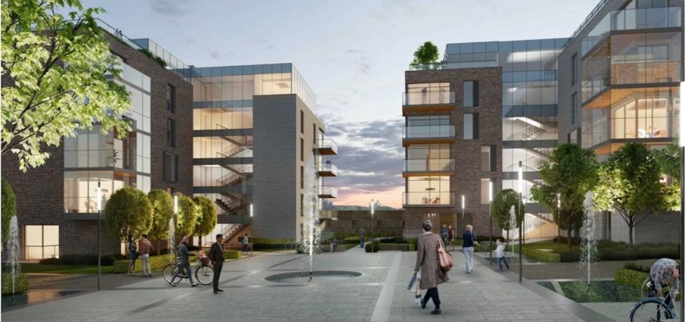 Evening exterior view, Wallard Orchard Garden's Build to Rent scheme