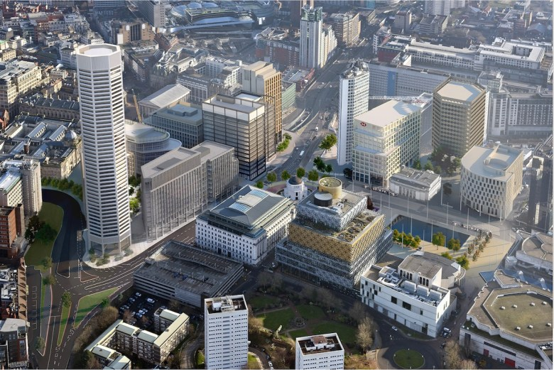 Octagon Build to Rent building, aerial view - Paradise Birmingham