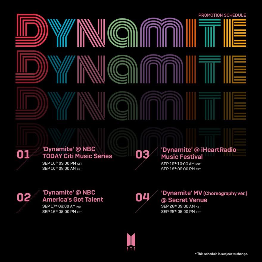 BTS Dynamite スケジュール