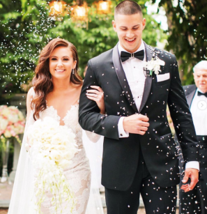 Groom Wearing Michael Costello Signature Black Two Toned Bar Bow Tie