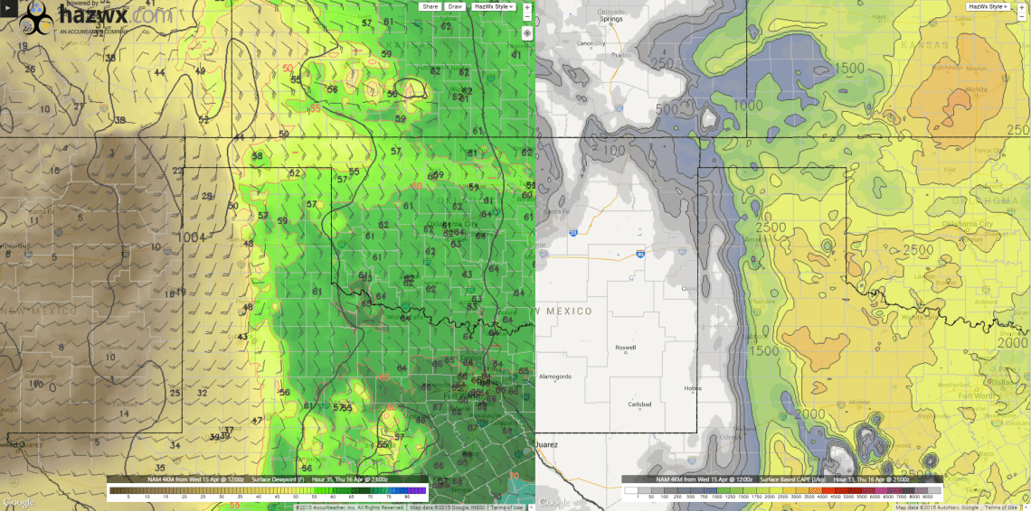 Forecast Surface Dewpoint/SBCAPE