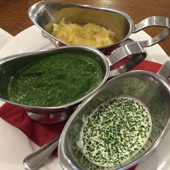 Dipping sauces for the beef: sauerkraut, chive and chive dipping sauces.