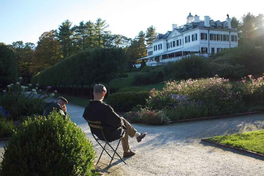 Visitors relax in Edith Wharton's Garden. Photo by Kevin Sprague, Courtesy of The Mount