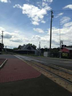 Railroad tracks run through town, and they are still in use. Photo by Kate Abbott