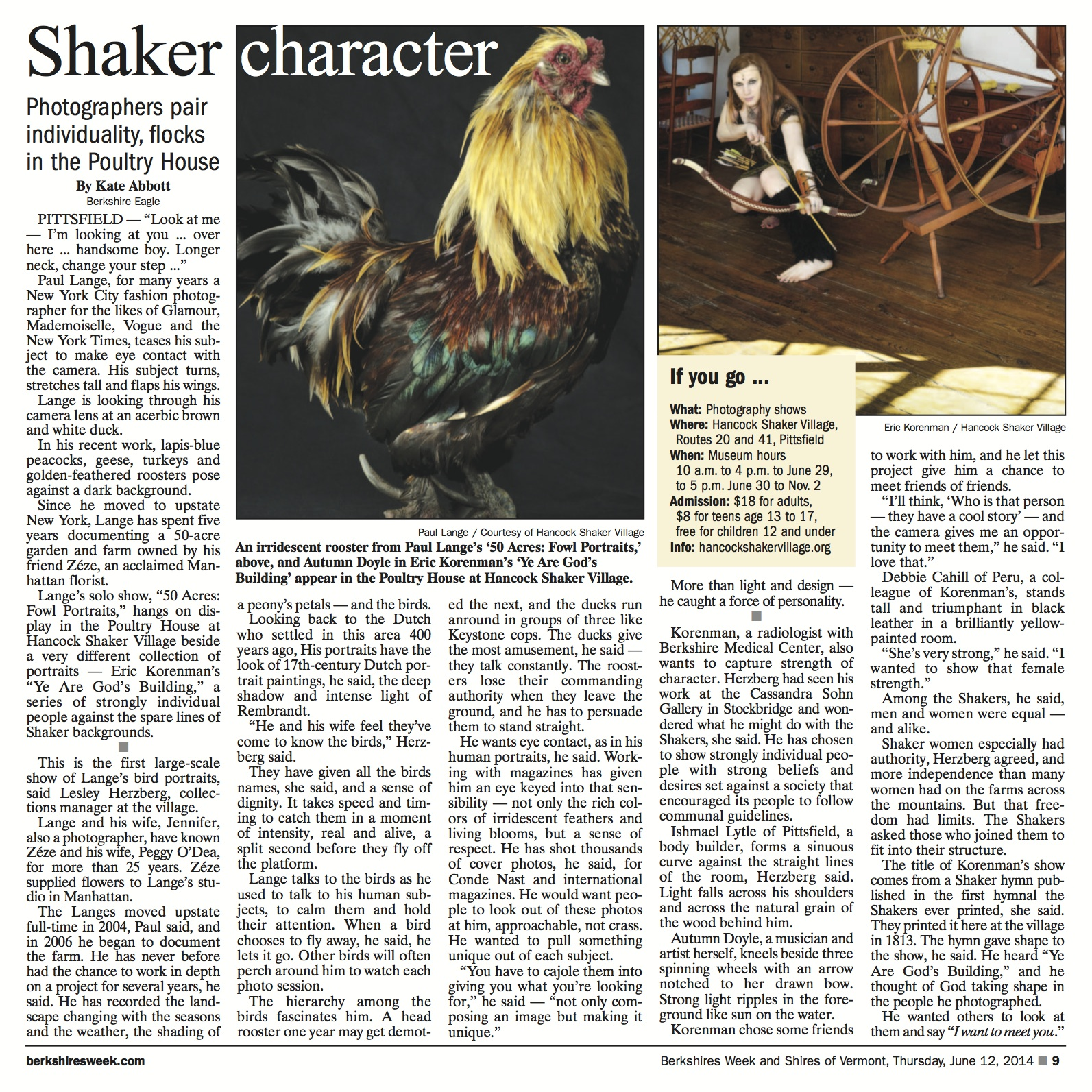 Sample page of Berkshires Week with Hancock Shaker Village story