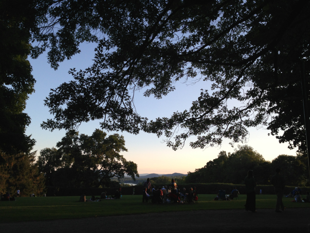 Night falls on the lawn at Tanglewood. Photo by Kate Abbott