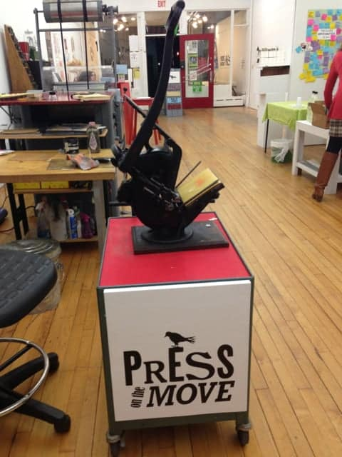 Press on the Move, a mobile printing press, will keep the former Press Gallery's presence alive on Main Street. Photo by Kate Abbott