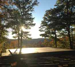 The Inside Out Stage at Jacob's Pillow gleams in the late afternoon on a crisp fall day. Photo by Kate Abbott