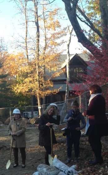 Jacob's Pillow's director, Pamela Tatge, second from the left, set a shovel into the earth. Photo by Kate Abbott