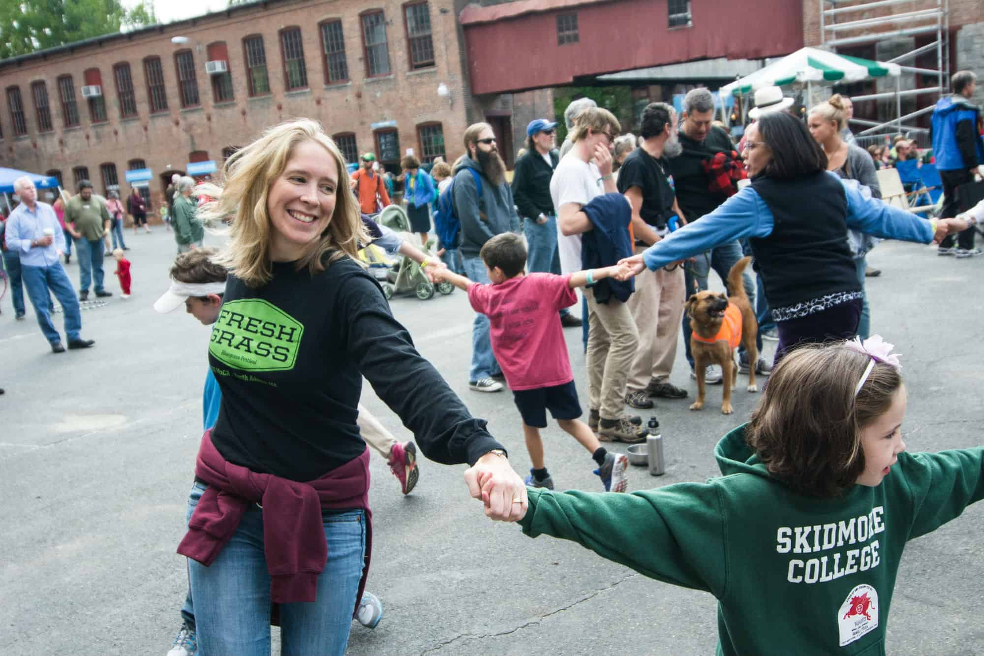 The crowd dances at FreshGrass, Mass MoCA's annual bluegrass festival in September. Photo courtesy of Mass MoCA