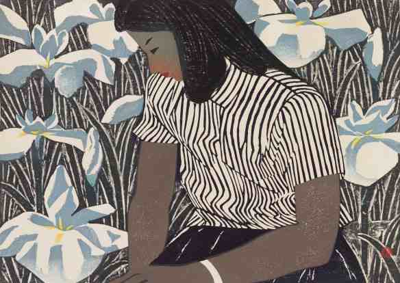 Hashimoto Okiie, Young Girl with Iris, 1952. Image courtesy of the Clark Art Institute