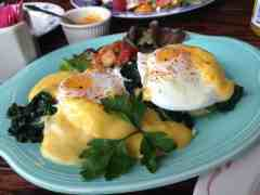 Eggs Florentine with cheese sauce at Pleasant and Main in Housatonic. Photo by Kate Abbott