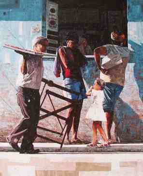 Dwight Baird lives on the border between Canada and New York State, but his heart resides in the tropics. Baird's current series of paintings shows the people of Cuba. These sun-drenched works move through the backstreets of Havana, with old men playing dominos and rolling cigars, women swaying to a Latin beat in mysterious doorways and vintage cars rolling slowly down the road. Photo courtesy of Paradise City Arts Festival in Northampton