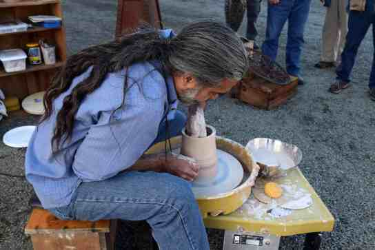 Vicente Garcia demonstrates on the potter's wheel at Paradise City Arts Festival. A ceramist and college professor, Garcia is also a sculptor of large-scale metal structures. He will share the secrets of his studio every day at the Festival. Photo courtesy of Paradise City Arts Festival in Northampton