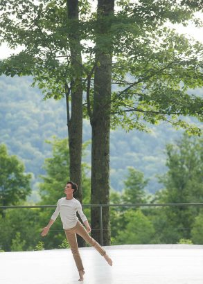 Dancers perform free on the Inside / Out Stage at Jacob's Pillow Dance Festival. Photo by Christopher Duggan, courtesy of Jacob's Pillow