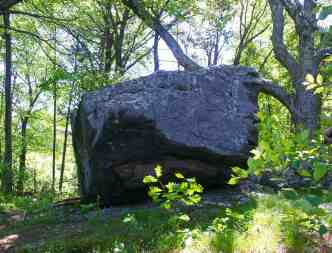 A large erratic boulder was dropped here by a retreating glacier some 10,000 years ago. Photo by Thom Smith