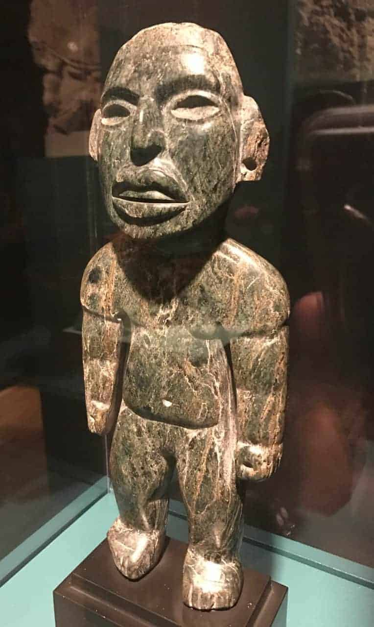 A green stone figure from Teotihuacán, 250 to 650 CE. On loan from the Worcester Art Museum. Photo by Kate Abbott